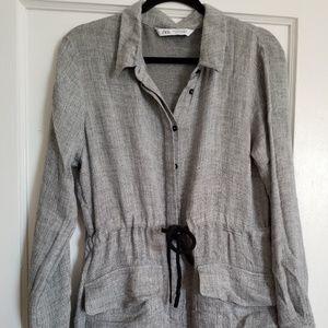Zara Gray Cinched Waist Midi Dress